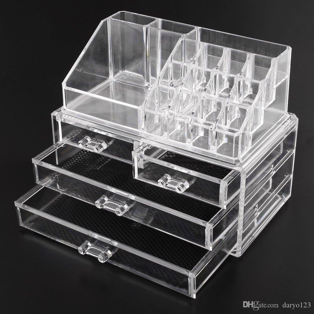Acrylic Cosmetic Makeup Organizer Jewelry Display Boxes Bathroom