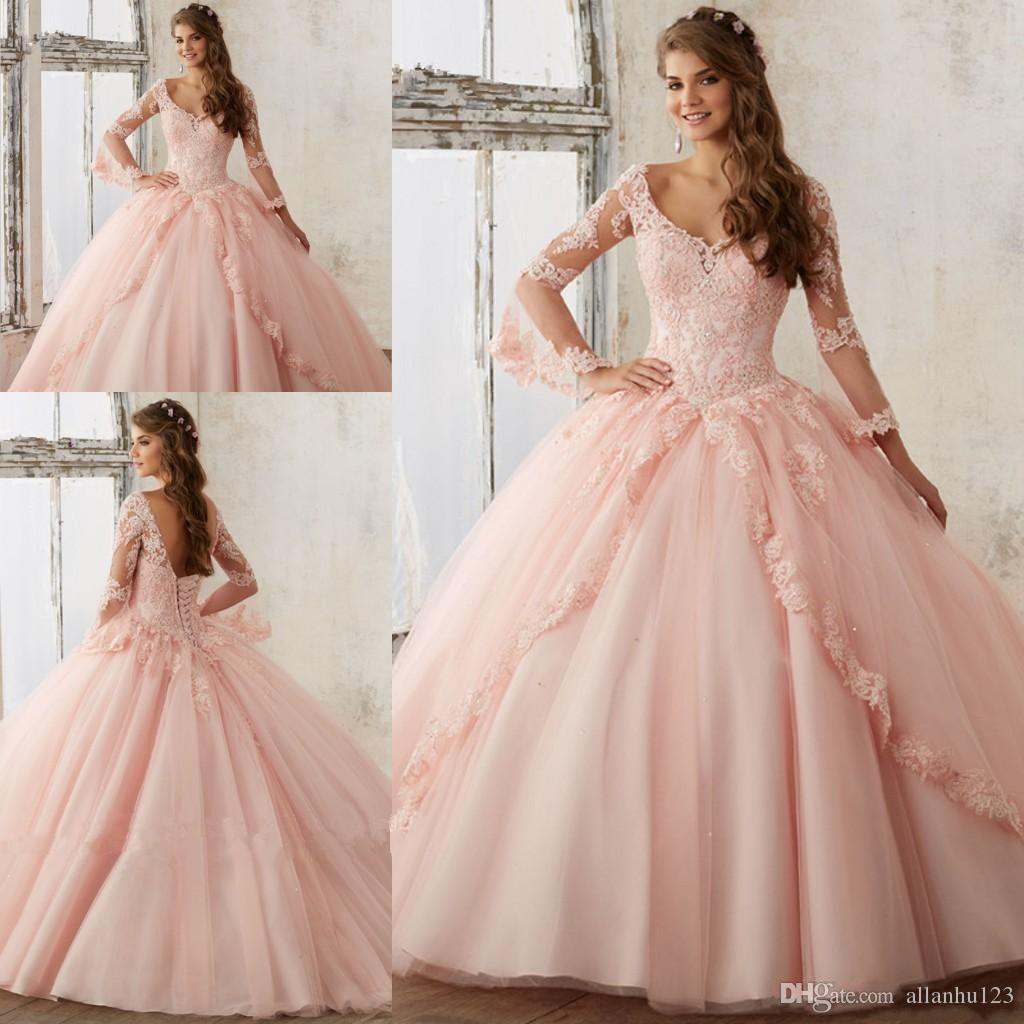 Compre 2017 Sweet 16 Vestidos De Manga Larga Blush Rosa Azul ...