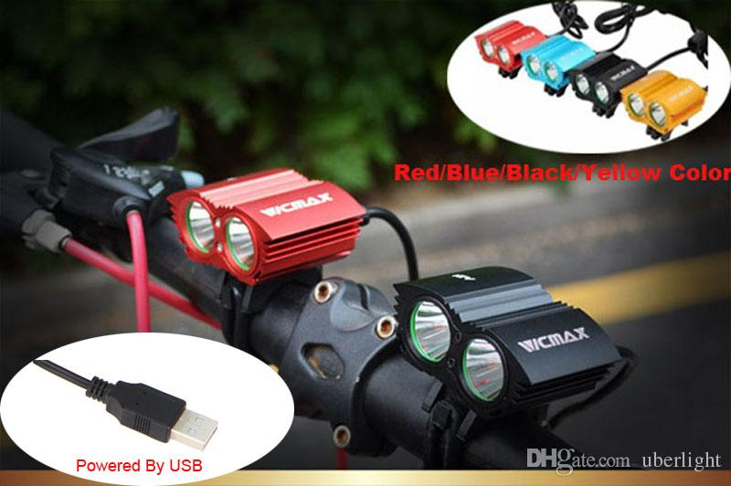 Impermeabile 5000LM X2 XM-L T6 LED Bicicletta USB Head Light Lampada pesca faro + O-ring Accessori bicicletas