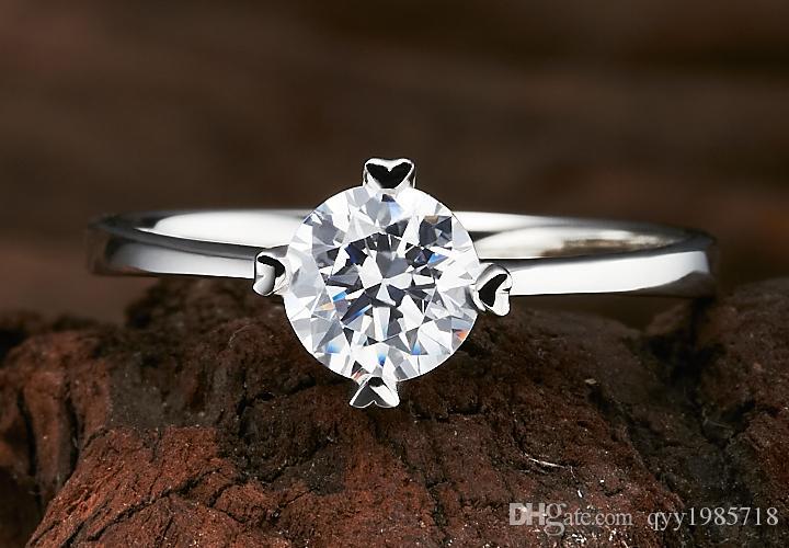 Garanti 0.8CT Bonzer Simüle Elmas Yüzük Güvenilir Gümüş 18 K Beyaz Altın Kaplama Kadınlar Düğün için Klasik Takı