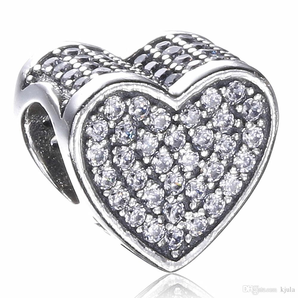 2017 New Authentic 925 Sterling Silver Love Heart Bead Charm con Clear CZ Fit Braccialetti originali Pandora Europa Gioielli Fai da te