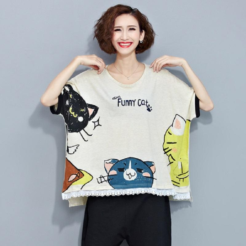 f0c74e11194 Extra Size Summer Women Fashion Korean Style Tops Brief O Neck Lovely Cat  Pattern Female T Shirt Short Sleeve Casual Loose Tops One Tee A Day Random  Graphic ...