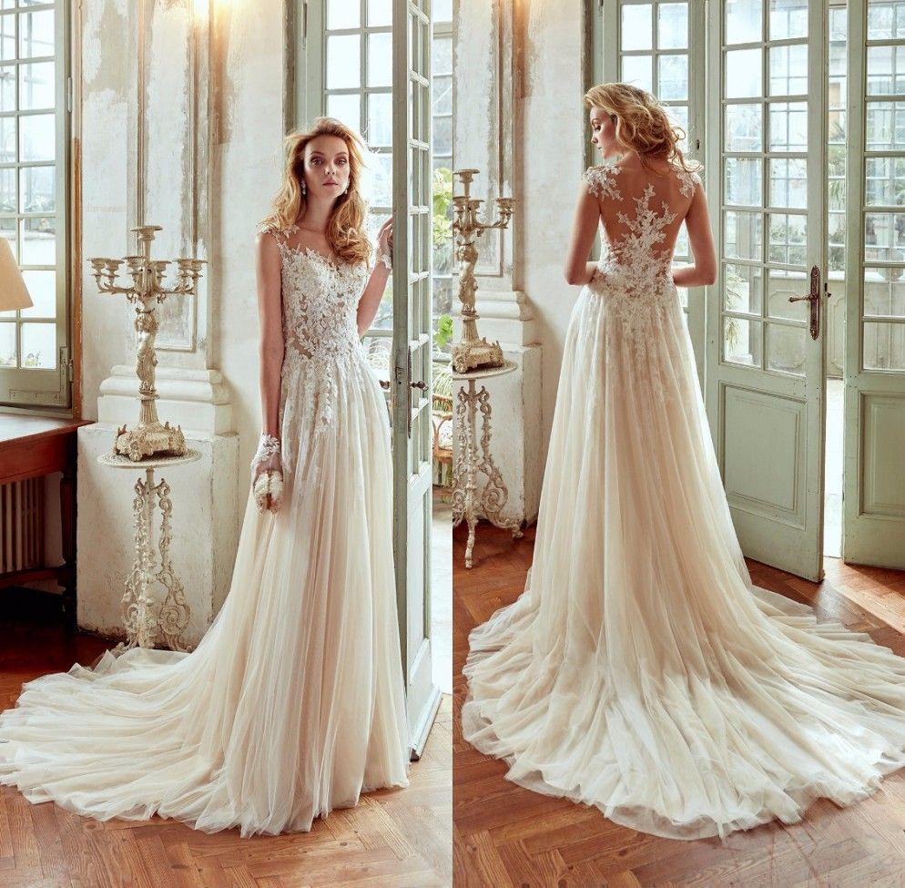 Discount 2017 Hot Sale Tulle Bohemian Wedding Dresses A Line Lace