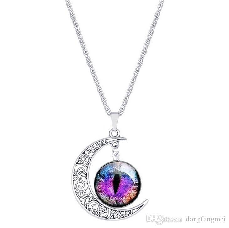 Vente chaude lune collier de pierres précieuses rétro yeux ornements chaîne de chandail chaud populaire WFN183 avec chaîne mélanger ordre 20 pièces beaucoup