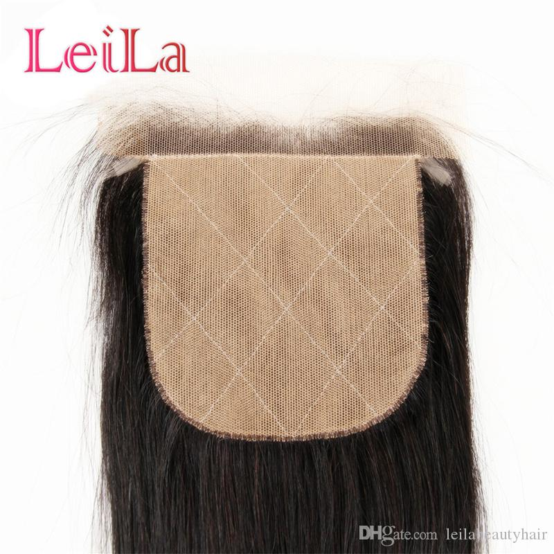 Indian Silk Base Virgin Human Hair Straight Hair 4X4 Lace Closure Bleached knots Natural Color Top Closures From Leilabeautyhair