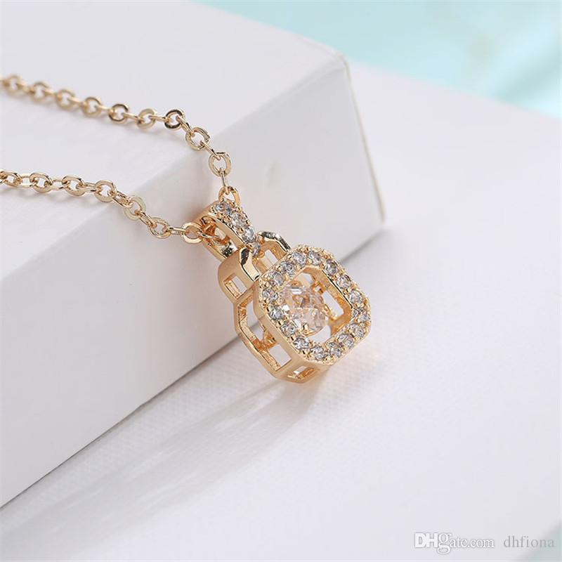 Super High Quality 18K Real Gold Plated Necklace Crystal Swarovski Stone Necklace Locket Design Necklace For Women 022-NE0150