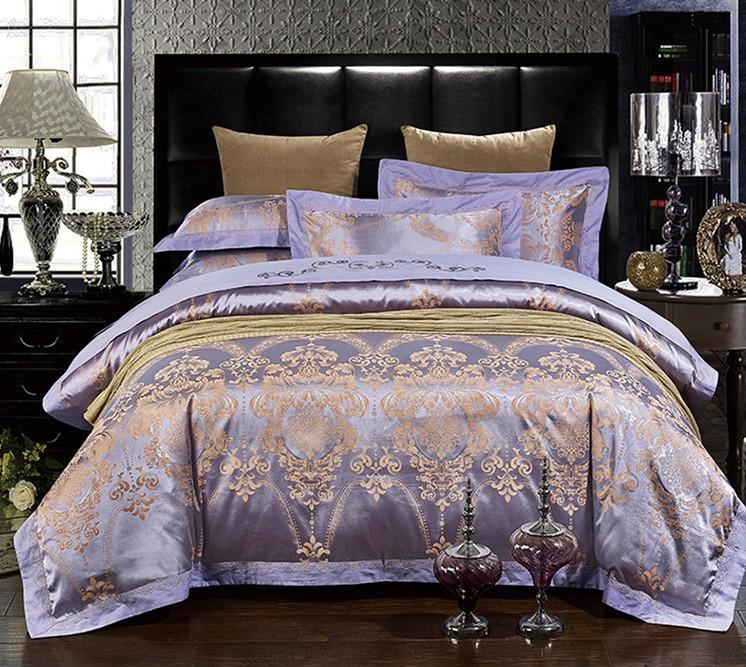 Luxury Purple Bedding Sets Lilac Violet Satin Duvet Cover