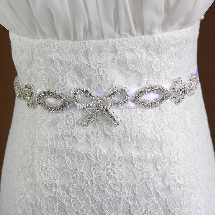 White Bridal Sash Wedding Princess Rhinestone Belt Girl Bridesmaid Dress Sash Wedding Accessories XW30 Organza / Ribbon