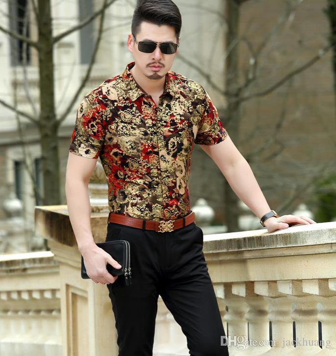 رجل زهرة نمط الأعمال عارضة قمصان الحرير قمصان مثير الأزهار رقيقة سليم قميص بأكمام قصيرة الصيف M-3XL