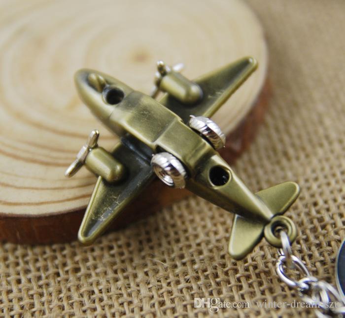 Mini regalo di Natale sveglio di Natale 3 della catena chiave dell'albero di Keyfob di chiave dell'acciaio inossidabile del pendente dell'aria dell'aeroplano di modo mini C14L