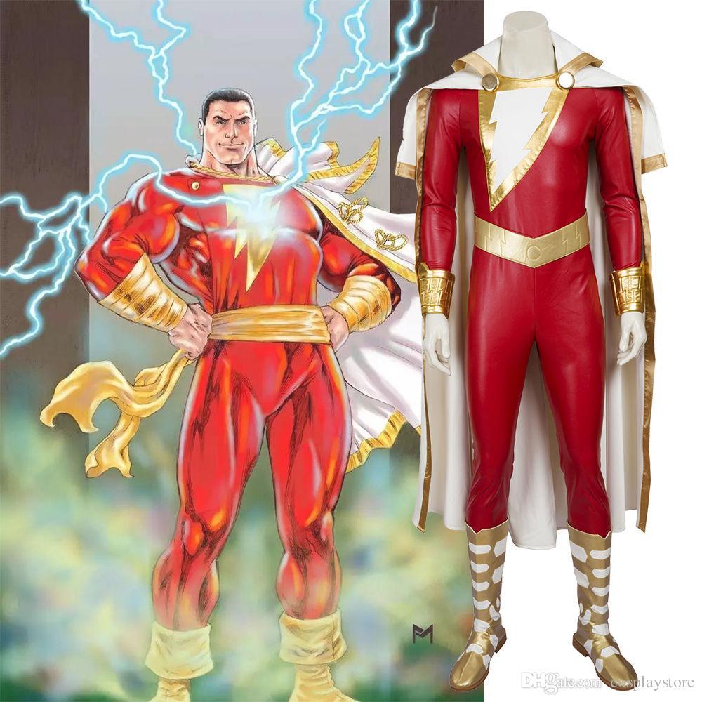 captain marvel cosplay costume shazam costume men's full set