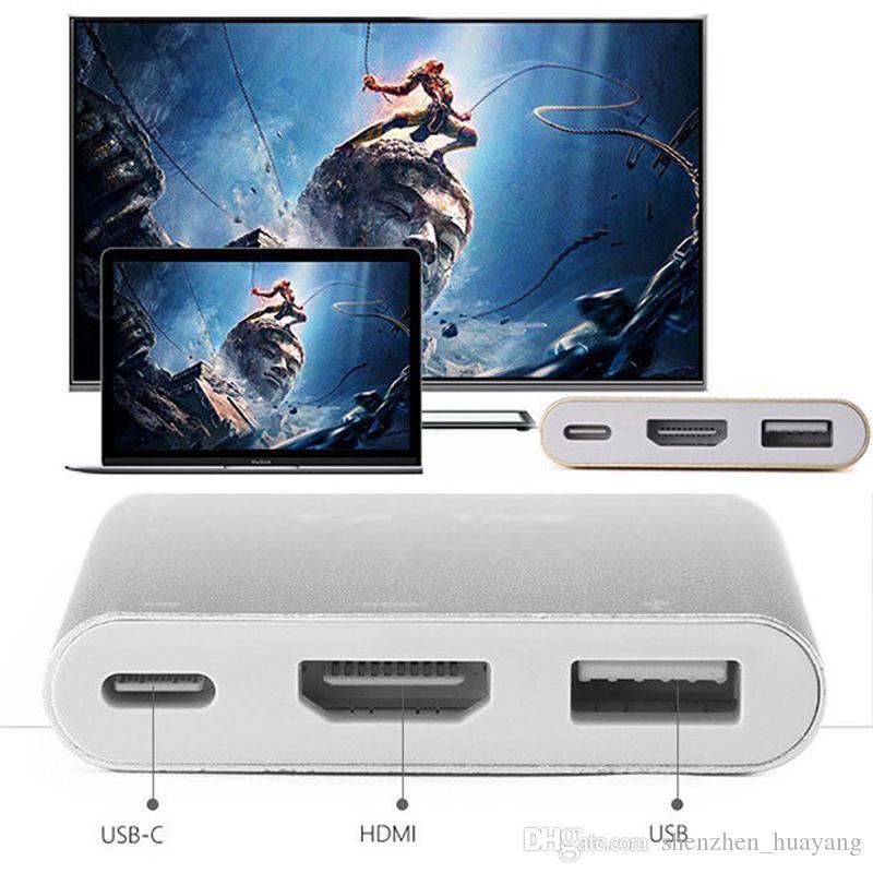 USB 3.1 Type-C к HDMI USB-C Цифровой Multiport адаптер 4K Женский 2 порта USB 3.0 HUB USB-OTG C Зарядное устройство для Macbook