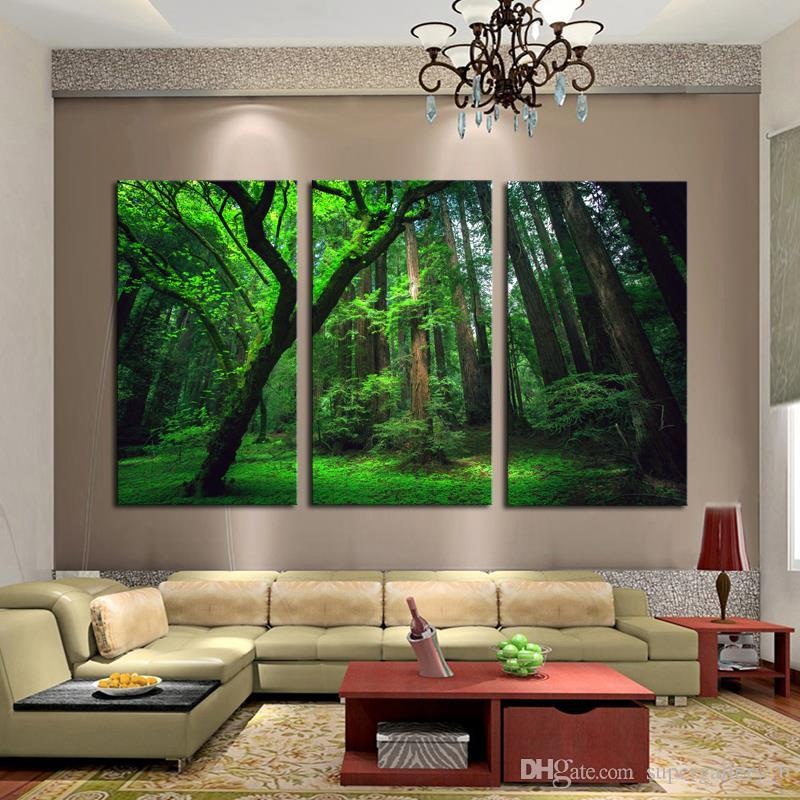 3 Panels Green Forest HD Art Print Painting on High Quality Canvas,Modern  Home Wall Decor in Multi sizes
