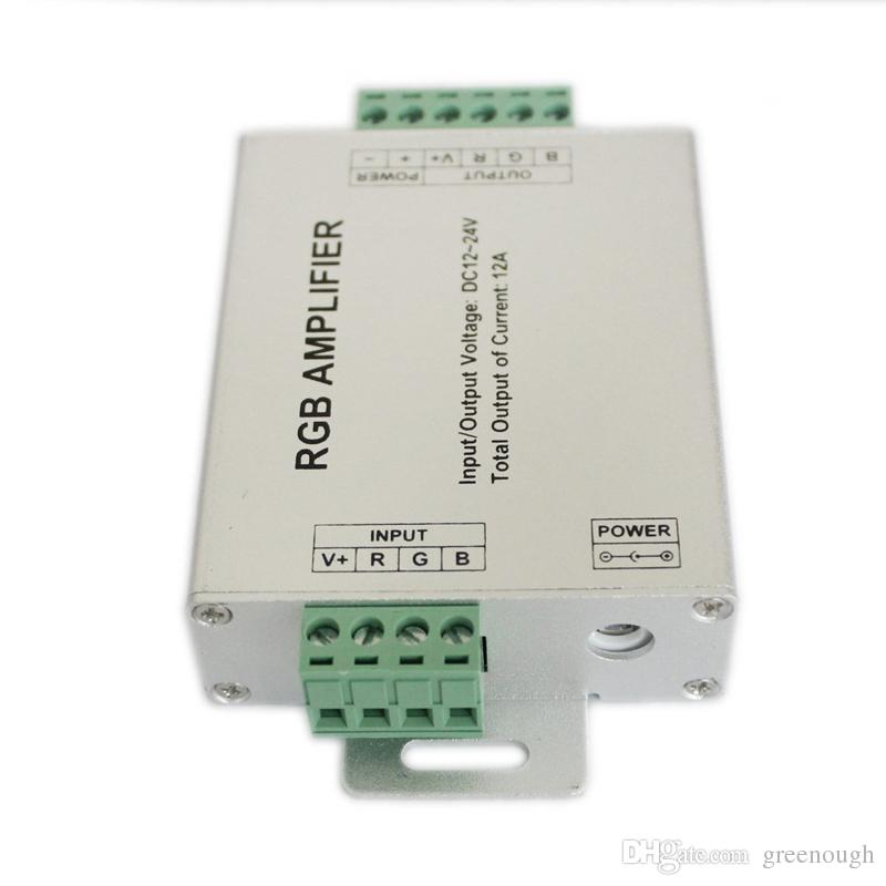 1 قطعة dc12-24v 12a 24a rgb amplifier تحكم إشارة مكبر للصوت ل 3528smd 5050smd rgb led قطاع ضوء led وحدات