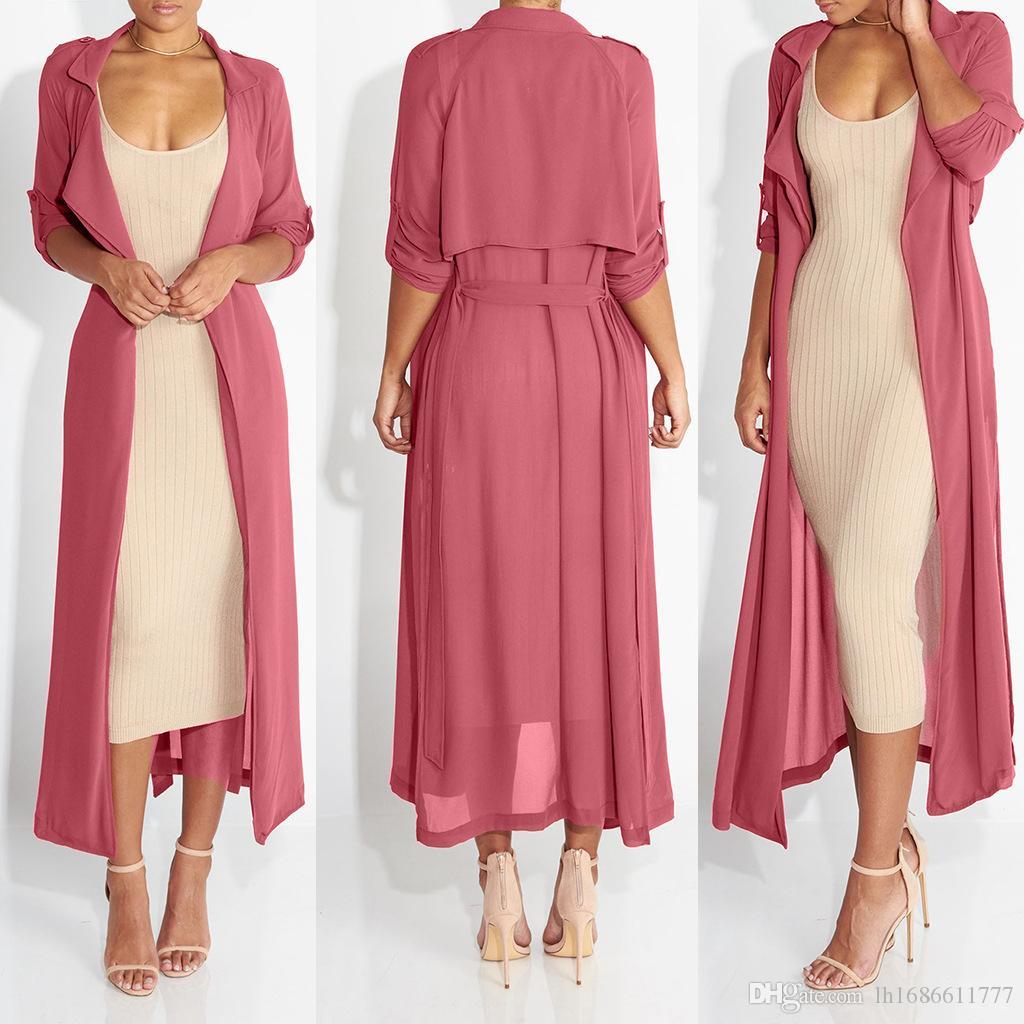 Летняя мода женщины с длинным рукавом на шифоне лацканов топов длинного кардигана дамы рубашки сексуального пляж одежда платье Женских блузки пальто