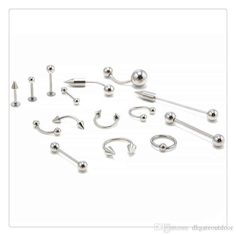 Monili di modo Anelli naso Mix Argento In acciaio inox NavelBelly Lip capezzolo sopracciglio Ear Studs Bar Ring Ball Piercing Kit Body Jewelry