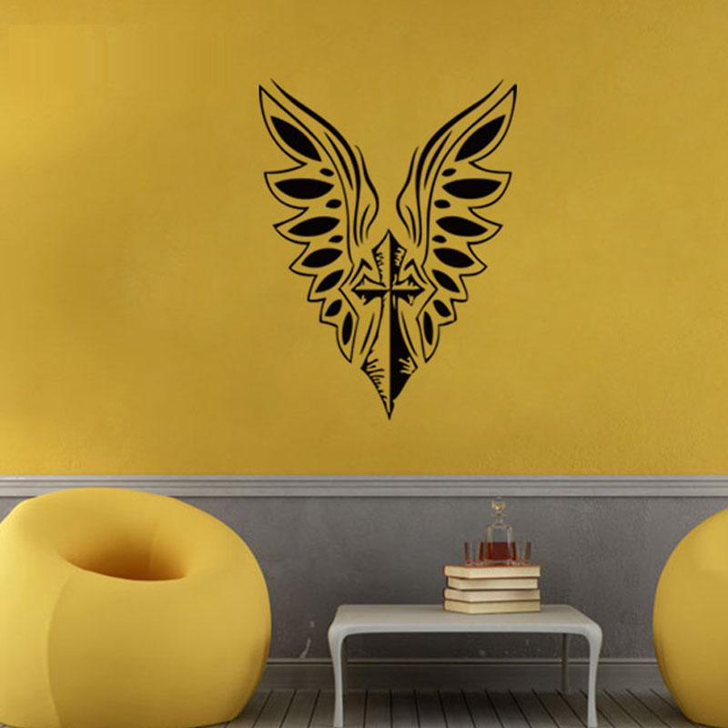 Diamond Level Brand Christian Cross Wing Wall Stickers Home Decor ...