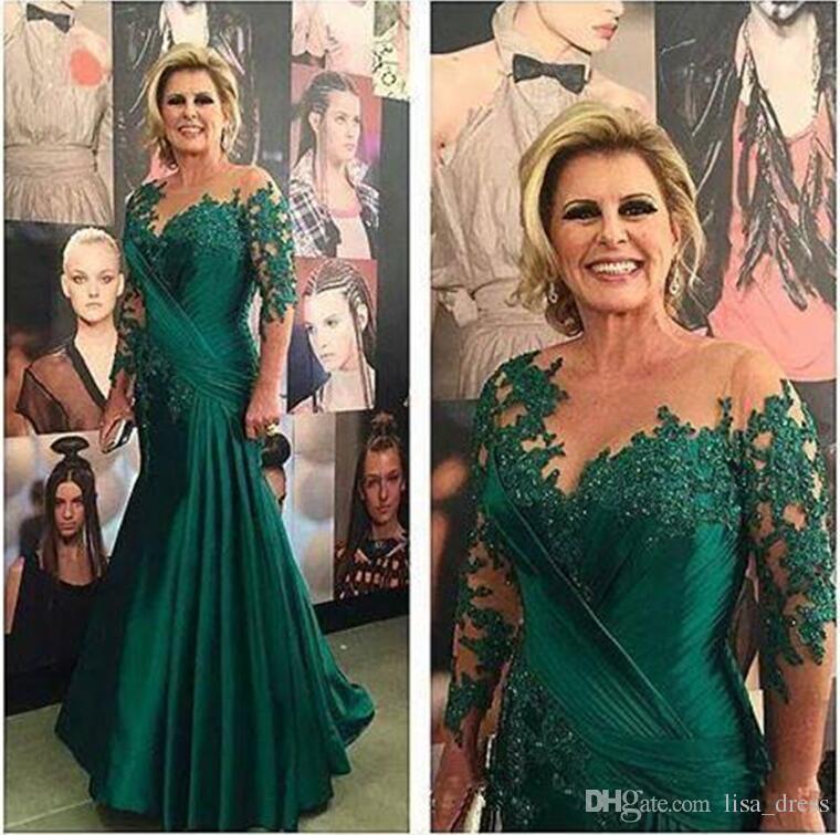Dunkelgrüne Meerjungfrau Kleider für die Brautmutter Illusion Langarm Applikationen Satin geraffte plus size Abendkleider Mutter Brautkleider