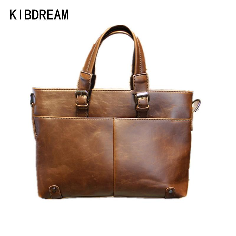 675520df631 Wholesale- KIBDREAM MEN MADE Leather Vintage Casual Briefcase ...