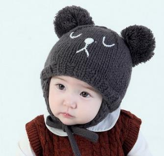 Fashion Autumn Winter baby hat Girl Boy Toddler Infant cartoon bear cat Kids Caps newborn photography accessories for 6-36M