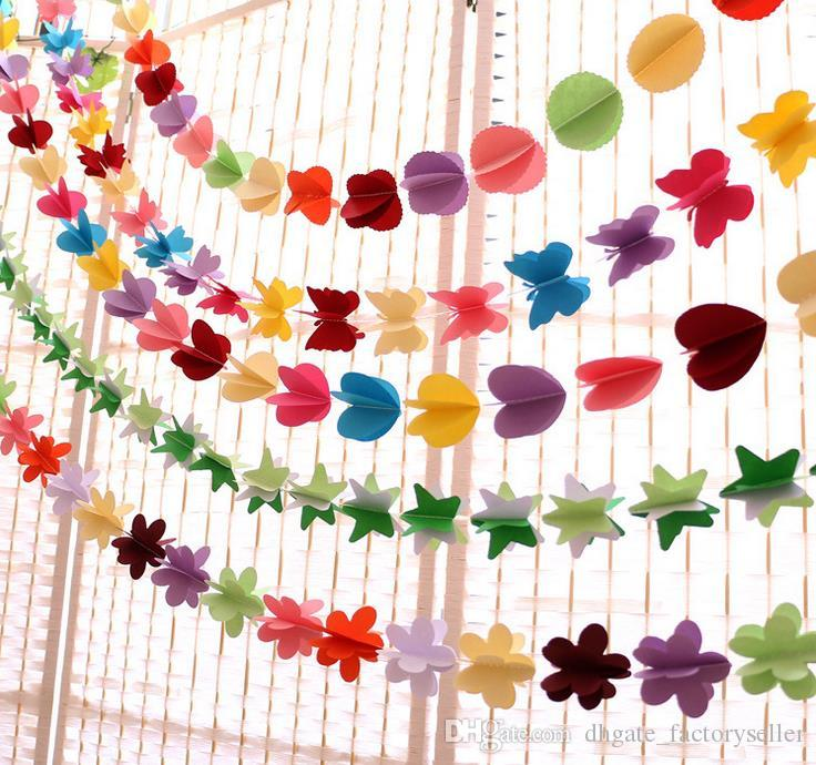 Hanging Paper Flowers Christmas Artificial Flowers Garland Birthday