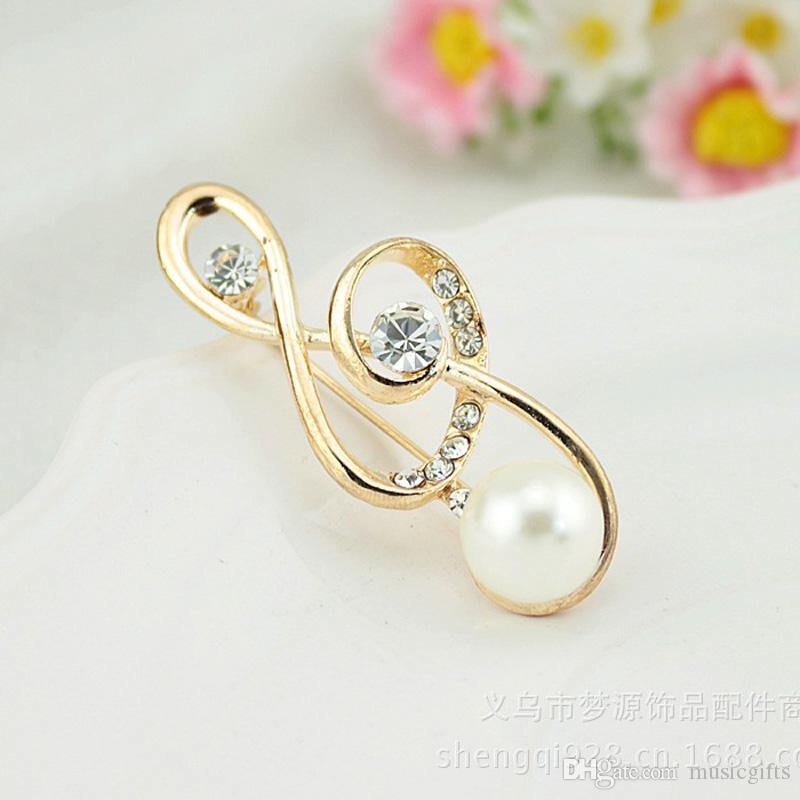 Wholesale Clear Crystal Rhinestone Plated Music High Notes Pin Brooch With Pearl Popular Beautifull Pin Brooch