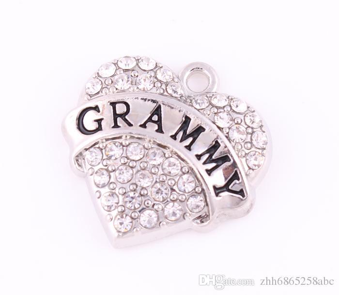 50 adet / grup Kelime Grammy Temizle Kristal Kalp Charm Takı Yapımı Için Çinko Alaşım Antik Gümüş Kaplama