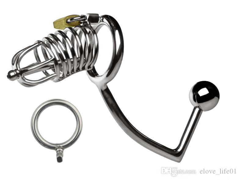 Multifunction Male Chastity Lock With Anal Hook Penis Ring Chastity Lock Chastity Belt Cock Ring Anal Sex Toy Adult Game CPA160