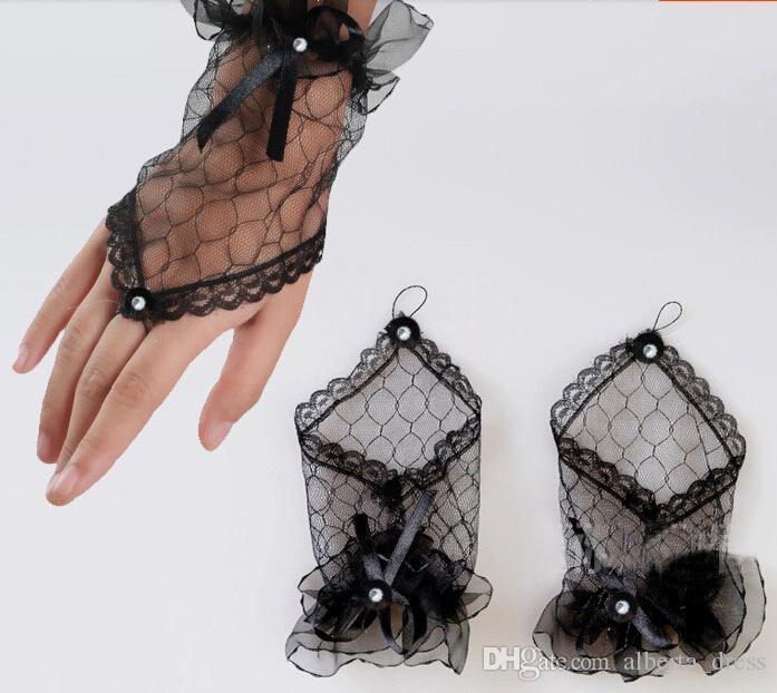 2016 New Bridal Gloves White Black Short Beaded Ribbon Bride Gloves Wedding Gloves Wedding Accessories Cheap Hot Sale