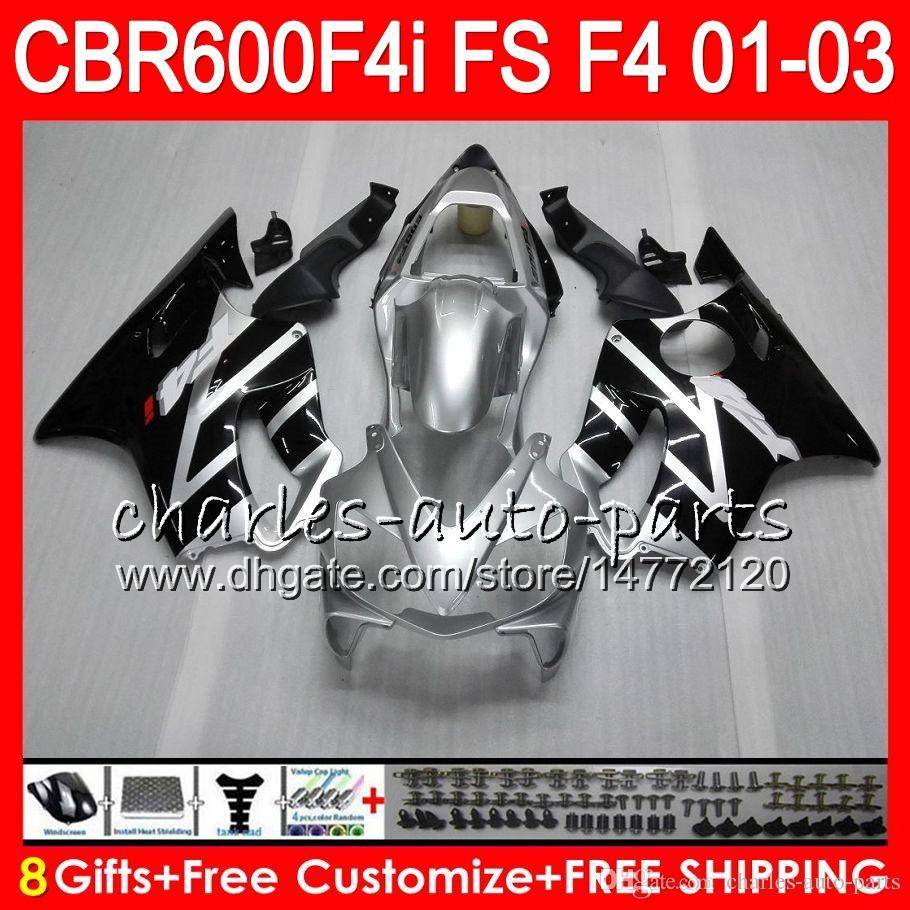 8Gifts For HONDA CBR 600 F4i 01-03 CBR600FS FS 28HM13 CBR600 F4i 2001 2002 2003 CBR 600F4i black Silver CBR600F4i 01 02 03 Fairing