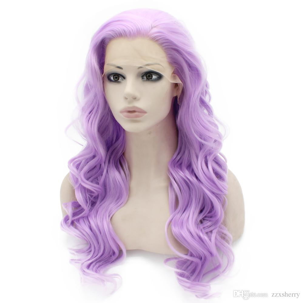Long Wavy Hand Tied Lace Front Synthetic Hair Purple Costume Party Wig