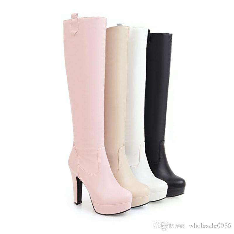 Fashion Women's Shoes Synthetic Leather High Heel Round Toe Knee Boots B625 US Size 4 -10.5 Black Pink Beige White