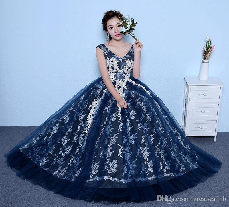100%real Navy Blue White Lace Embroidery Ball Gown Court Medieval ...
