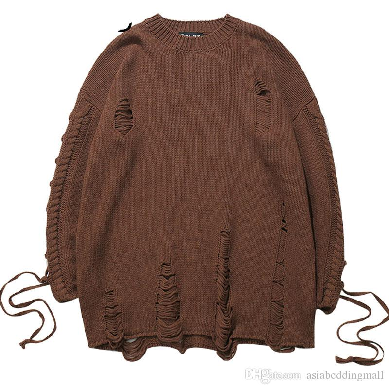 separation shoes f845b 6cfd3 Sleeve Lace-Up Zerrissene Pullover Herren Pullover Band Strickpullover Hip  Hop Fashion Holes Pullover Pullover Schwarz Braun
