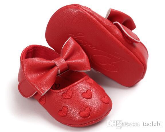 도매 아기 prewalker 신발 아기 소녀 신발 달콤한 마음 아기 공주 신발 선택을위한 많은 색상