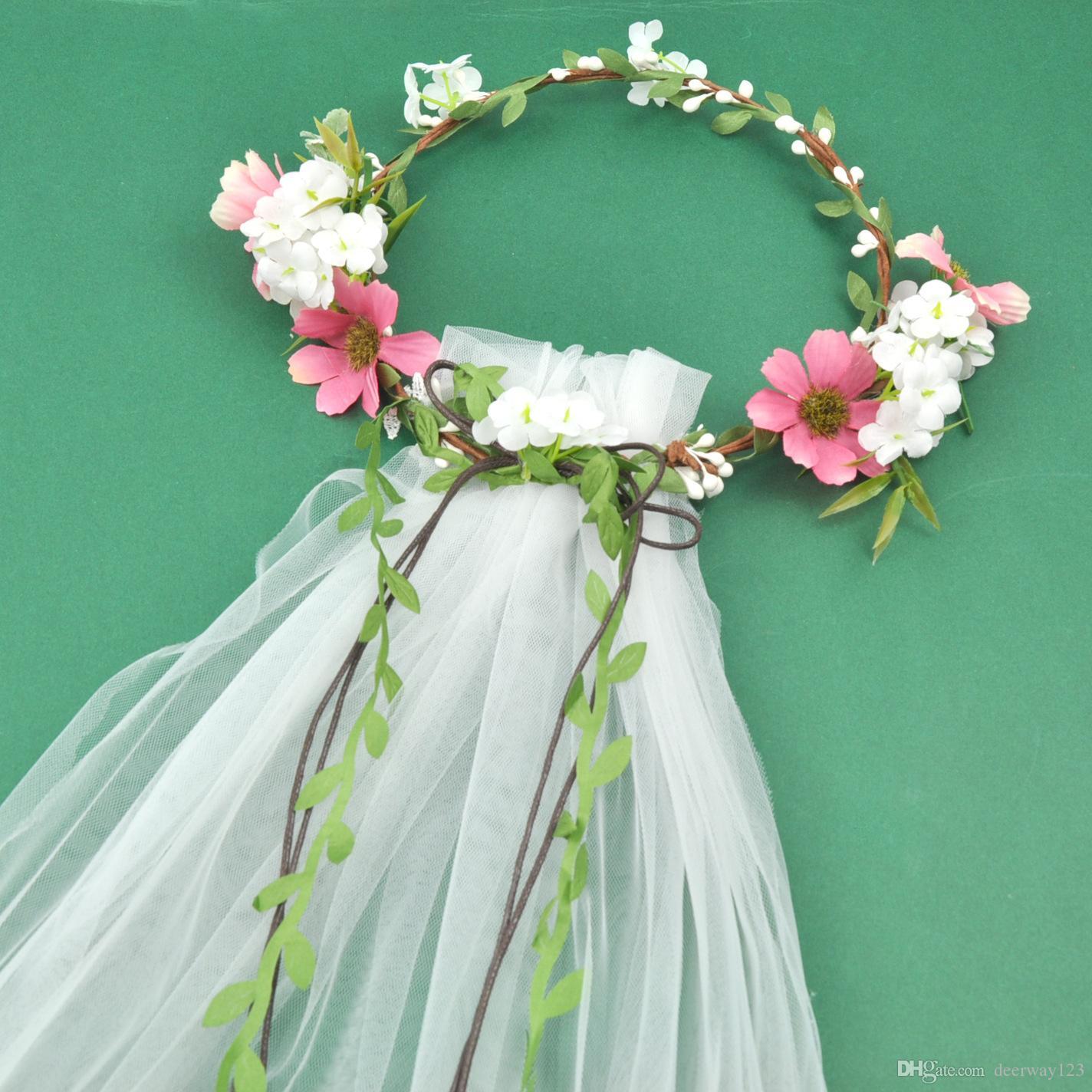 Wedding veil floWer croWn online shopping - Bohemian Hair Crowns Flower  Headbands Women Wedding Veils Beach 1d54b7ecbef