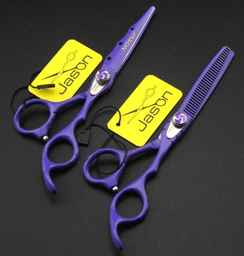 6.0 Inch Jason Hair Scissors Professionale Kit da parrucchiere Forbici da taglio Forbici da sfoltire con borsa JP440C Barber Shop Supplies, LZS0549