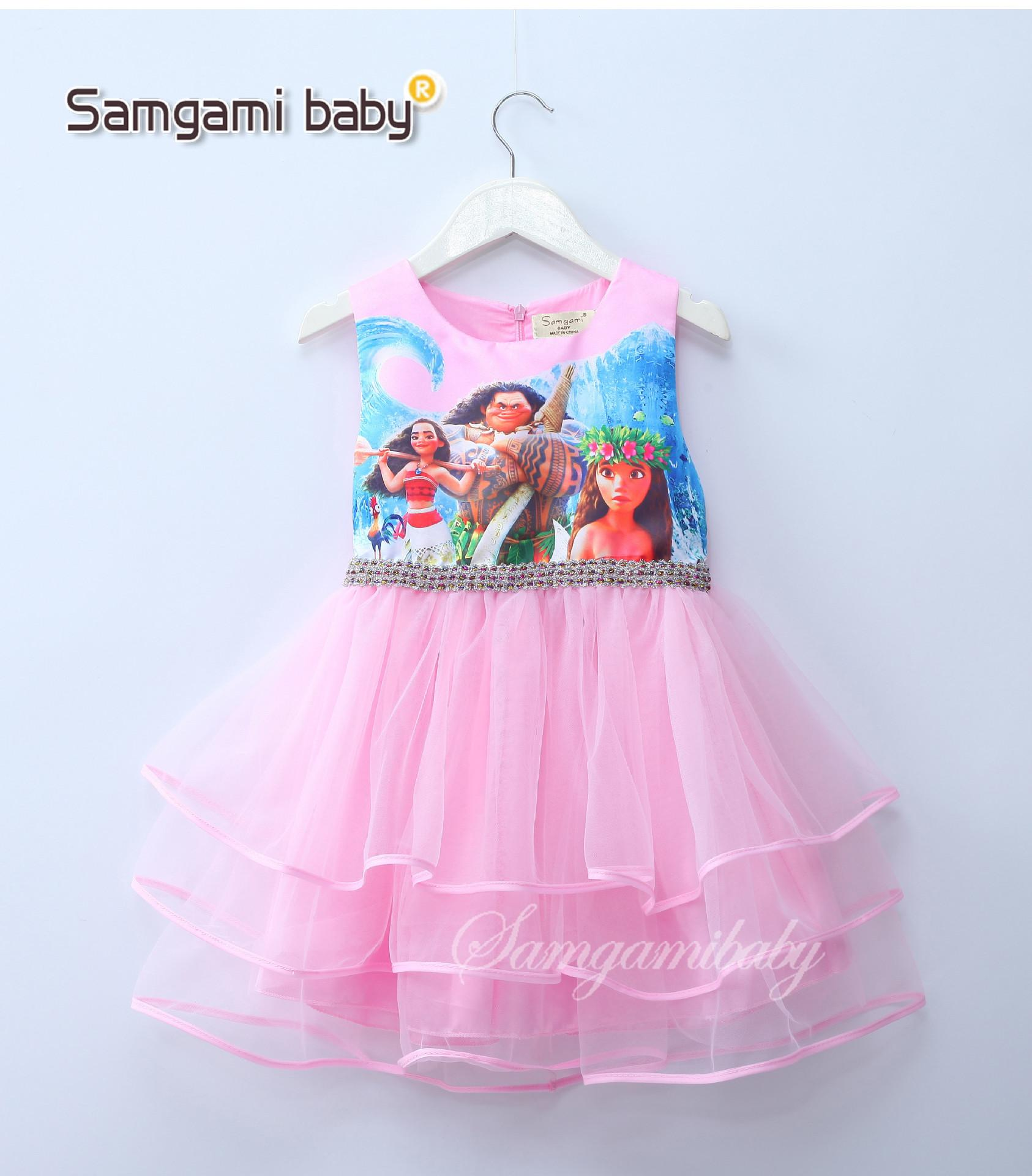 Großhandel Mädchen Moana Prinzessin Kleid Lila Rapunzel Kleid Kinder ...
