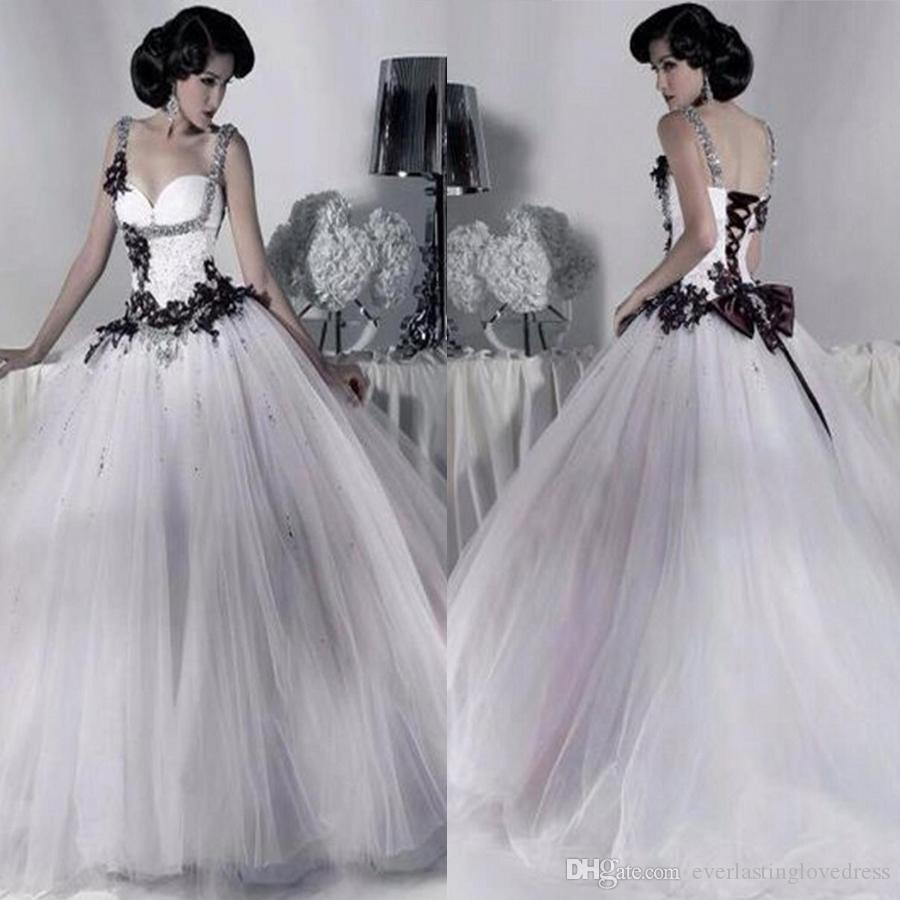 Spaghetti Straps Bridal Victorian Gothic Wedding Dress Tulle Ball Gown Lace White And Black Gowns Robe De Mariage Bride Beaded