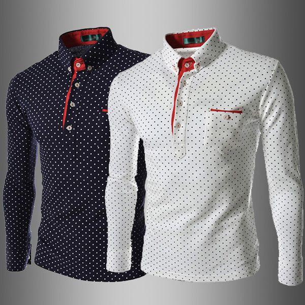 b7e55baf4f Men Polo T Shirt Fashion Lapel Polka Dot Print Leisure Slim Long sleeves  England Style T shirts