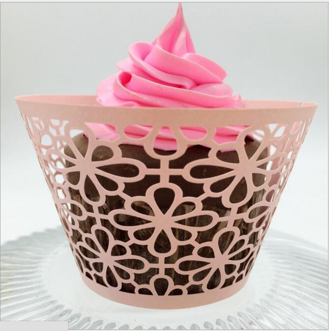 Düğün Iyilik Kelebek Vine Telkari Lazer Kesim Dantel Fincan Kek Sarıcı Kek Sarmalayıcıları Düğün Doğum Günü Dekorasyon için Başına 12 adet