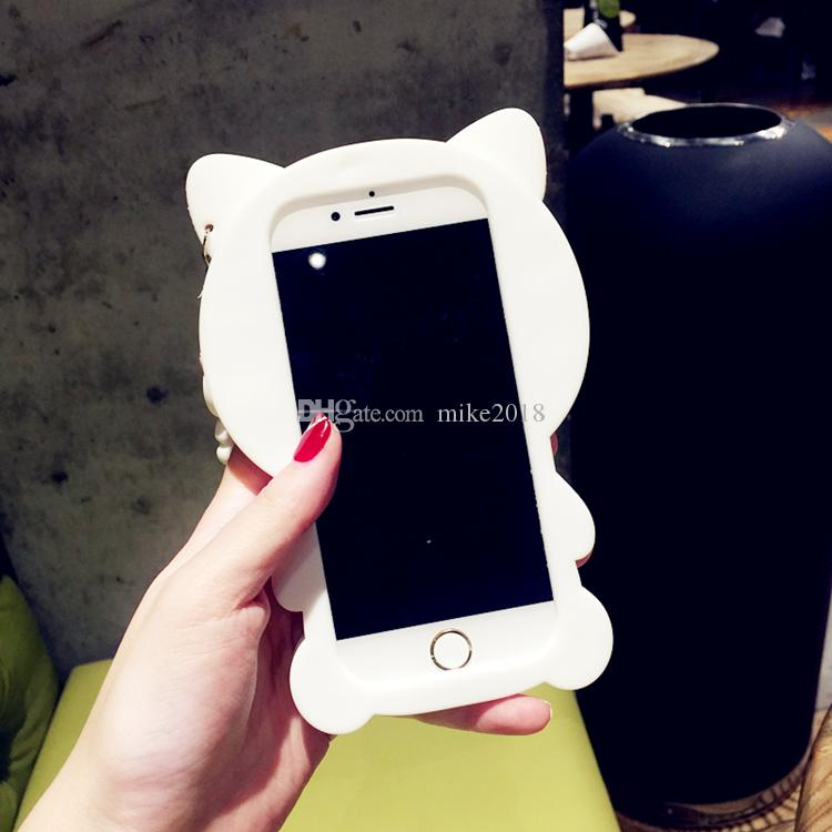 Mode Belle Bande Dessinée 3D Arc Cat Case Pour iPhone 6 Cas Pour iphone 6S 6 Plus 5 5S SE Téléphone Cas Cute Animal Couverture Arrière Fundas