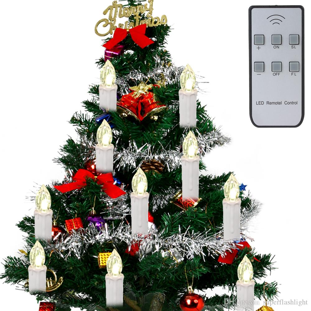 2017 10 In 1 Wireless Remote Control Christmas Tree Led Candles ...