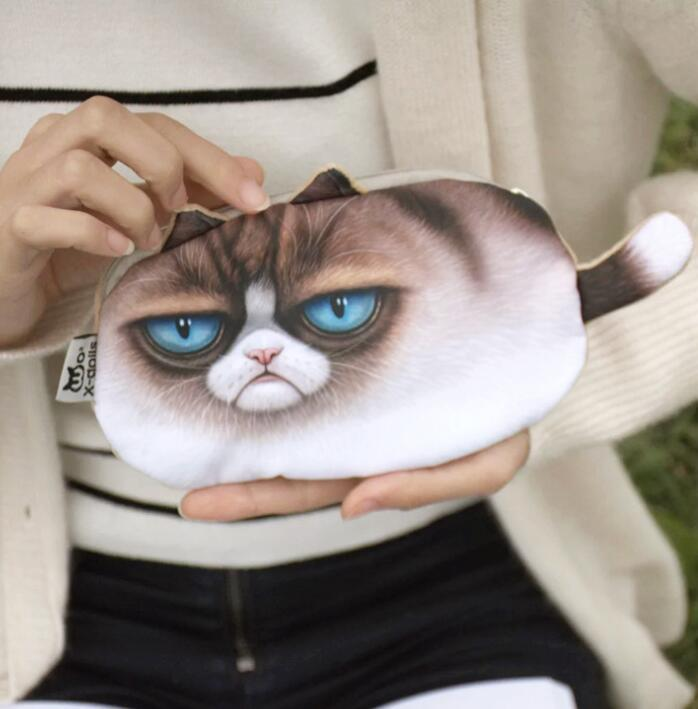 Creative 3D Painting Cat Coin Purse Harajuku Style Organizer Wallet Hand Bags cat face purse key coin holders cosmetic bags