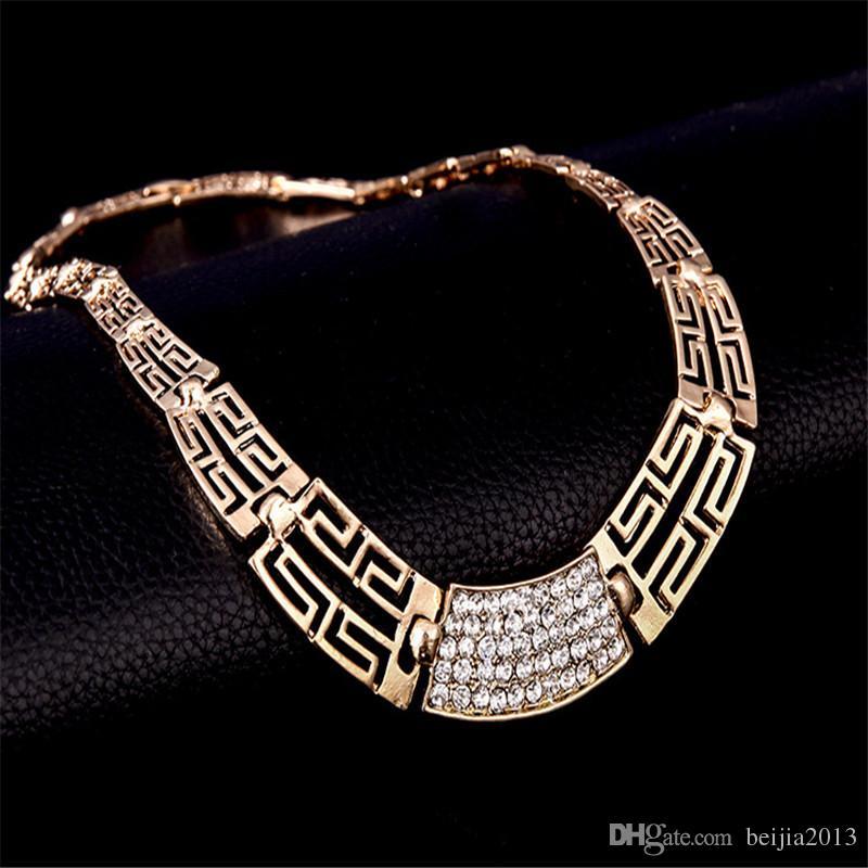 عالية الجودة 18 كيلو الذهب مطلي الفضة والمجوهرات مجموعة أقراط قلادة خواتم سوار الإسورة مجموعات مجوهرات الزفاف الإكسسوارات الساخن
