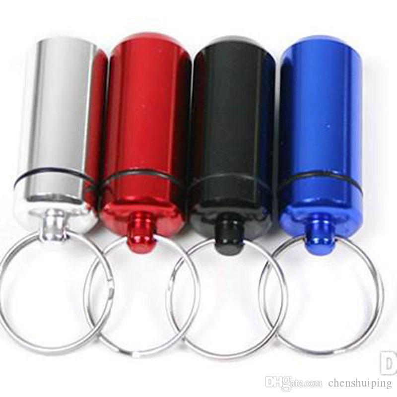 Travel Keychain Pill Box WaterProof Aluminum Case Bottle Holder Container Medicine Storage Organizer Container Case