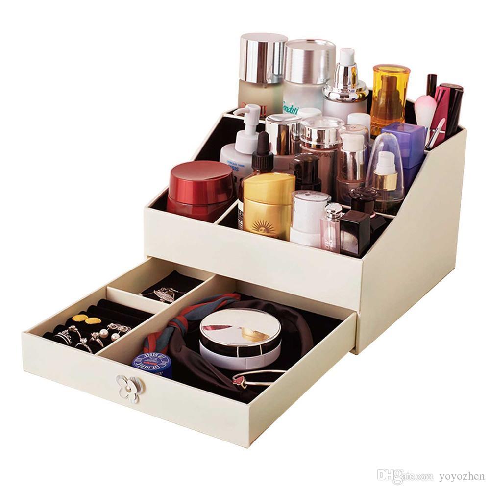 Haute qualité PU bijoux en cuir boîte organisateur femmes cosmétiques boîtes de rangement avec tiroir rose, blanc