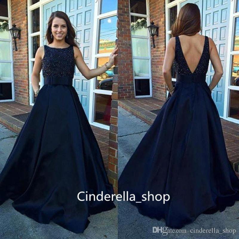 Modest 2018 Navy Blue Arabic Prom Dresses A Line Jewel Neck Beading