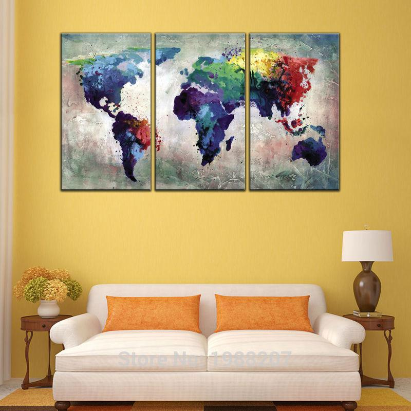 3 Panles Abstract Color Map Canvas Paintings World Map Pictures ...