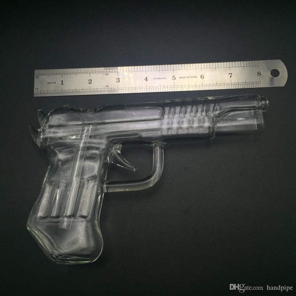 Pistol Glass Water Pipes Gun Smoking Pipe Glass Bong Hookah Wax Pen for Dry Herb Vaporizer